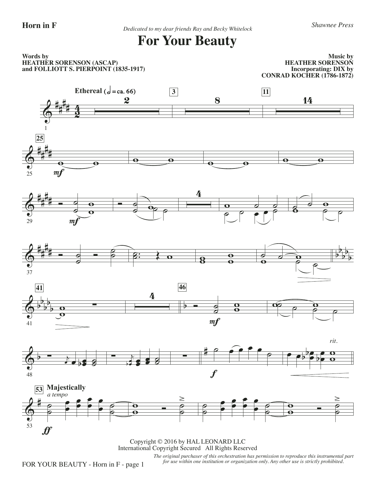 For Your Beauty - F Horn Sheet Music