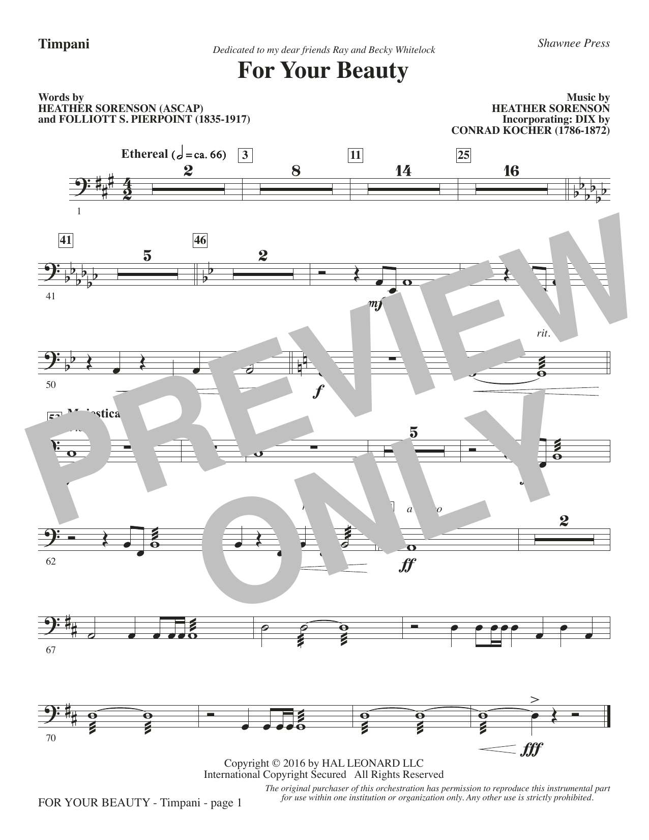 For Your Beauty - Timpani Sheet Music