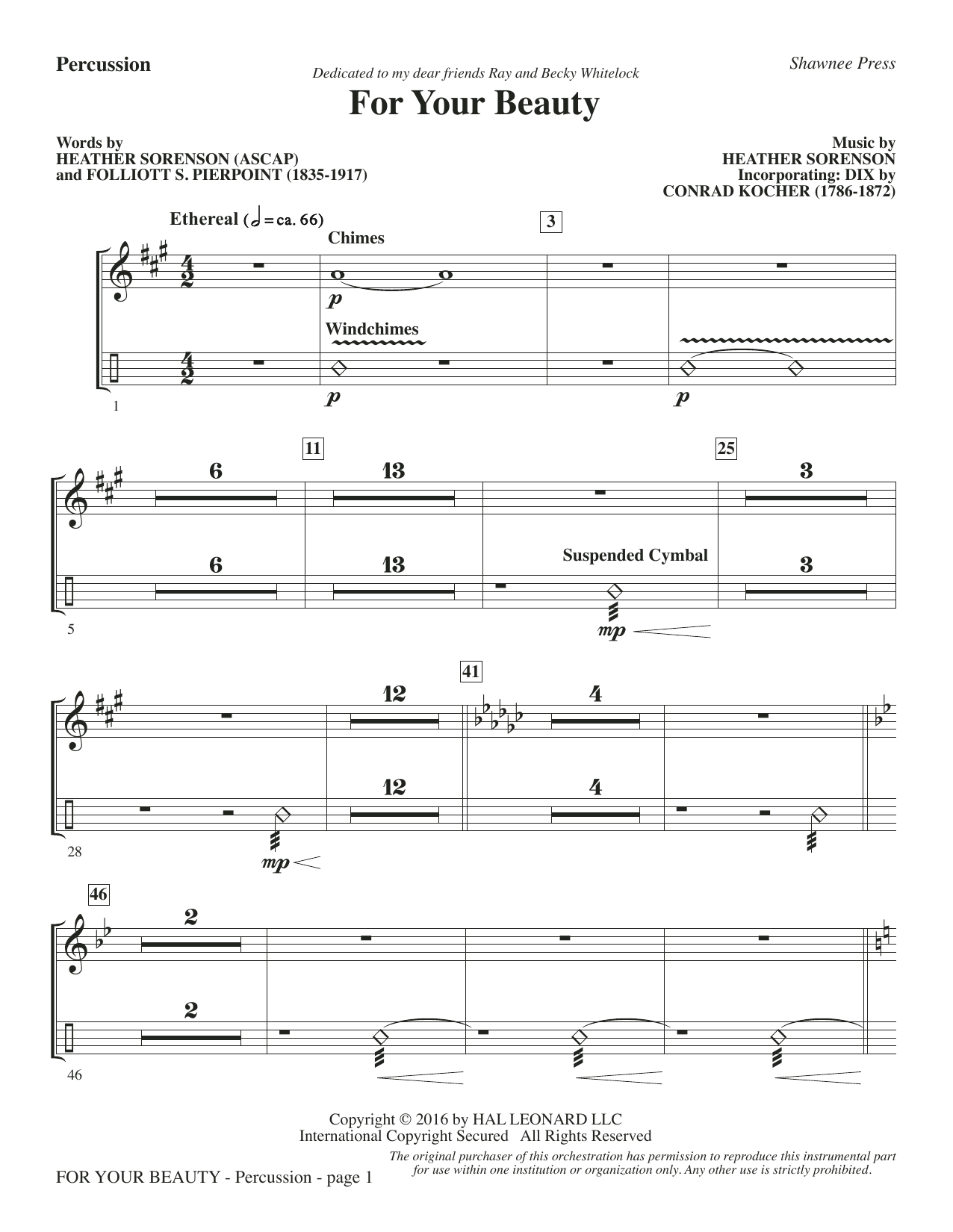 For Your Beauty - Percussion Sheet Music