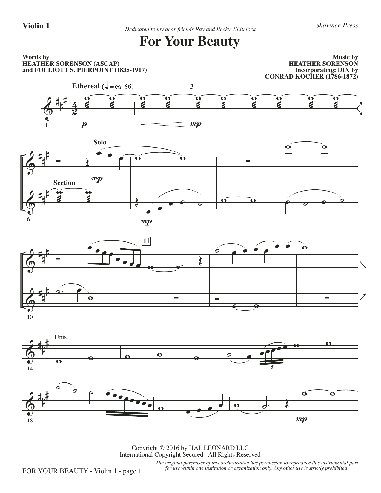 For Your Beauty - Violin 1 Sheet Music