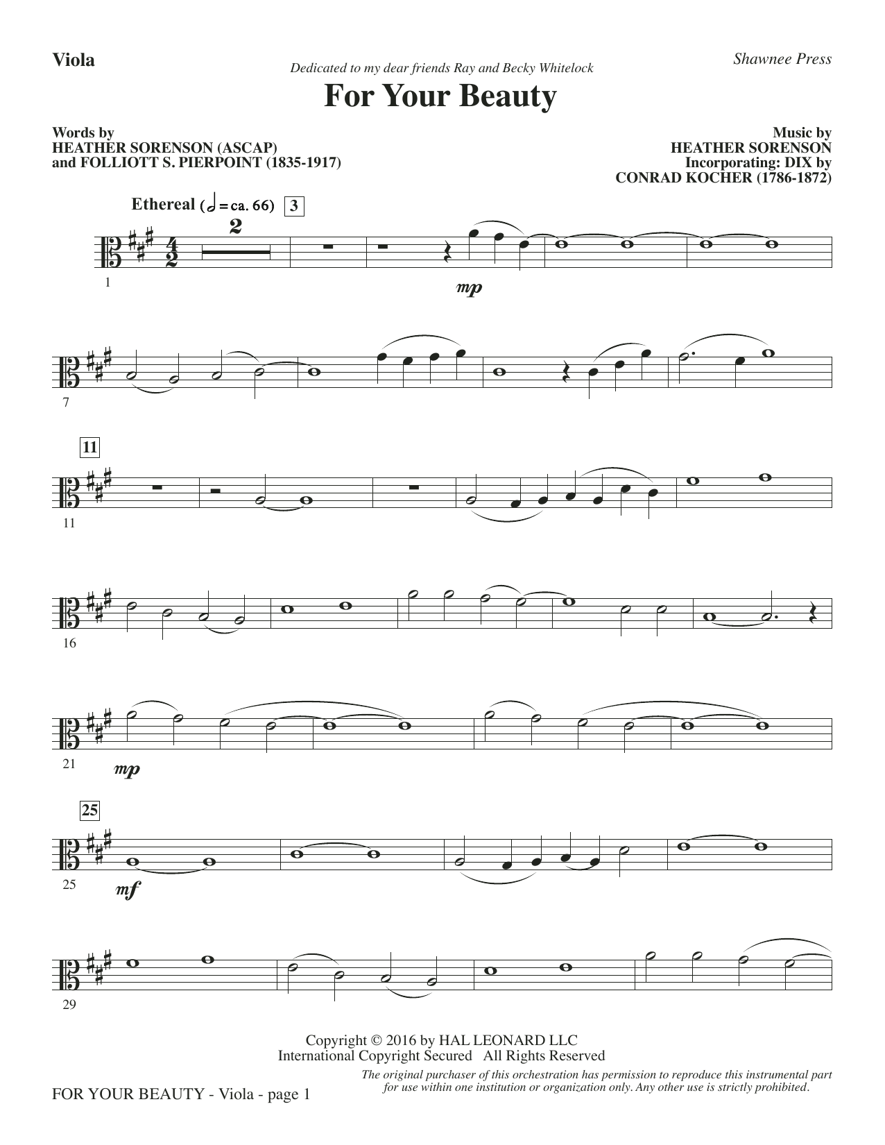 For Your Beauty - Viola Sheet Music