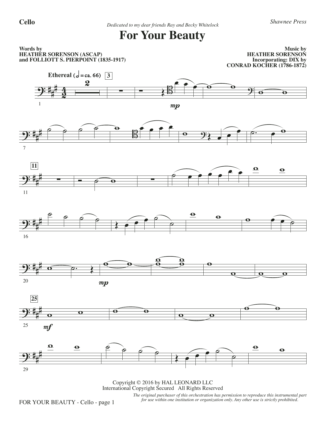For Your Beauty - Cello Sheet Music