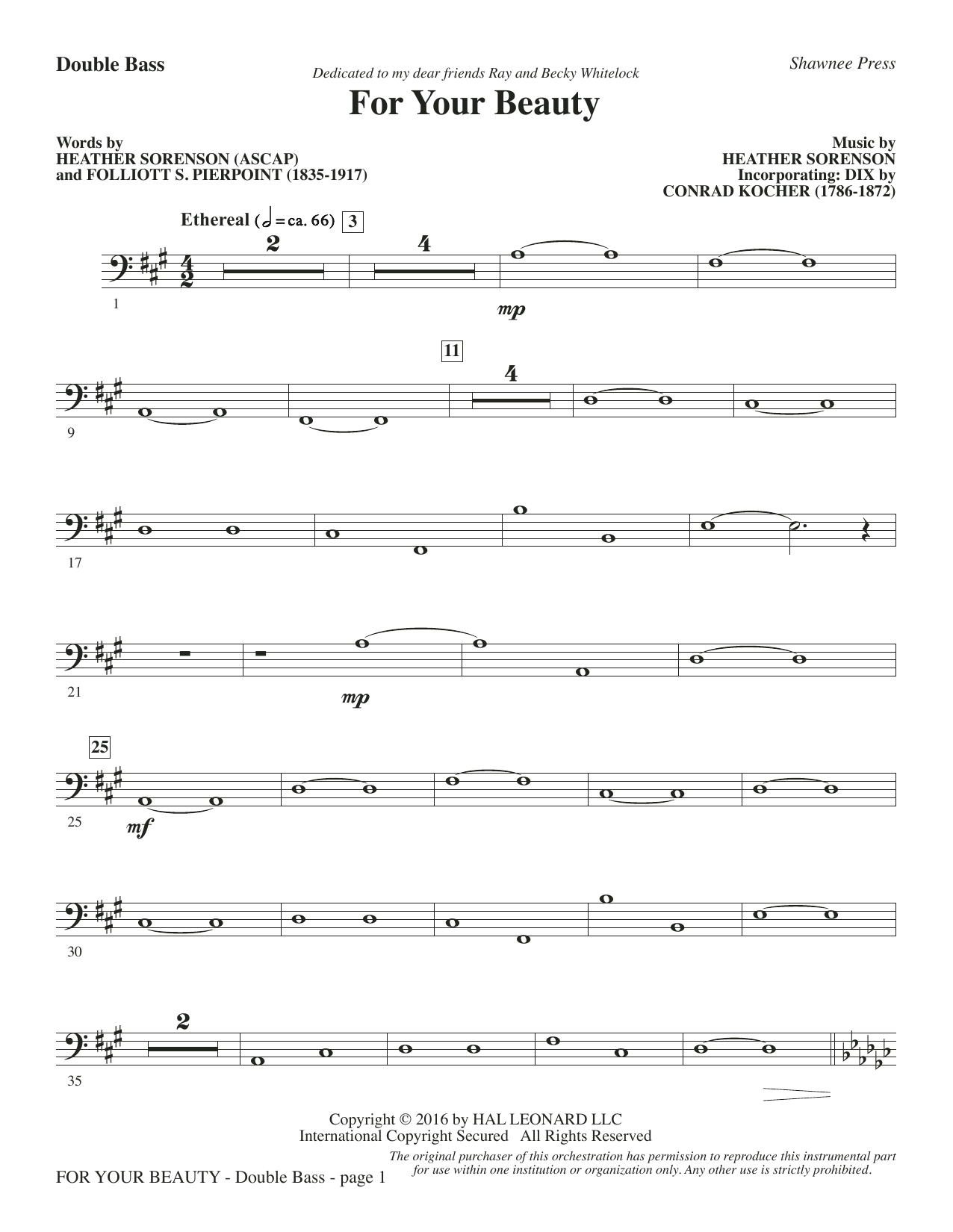 For Your Beauty - Double Bass Sheet Music