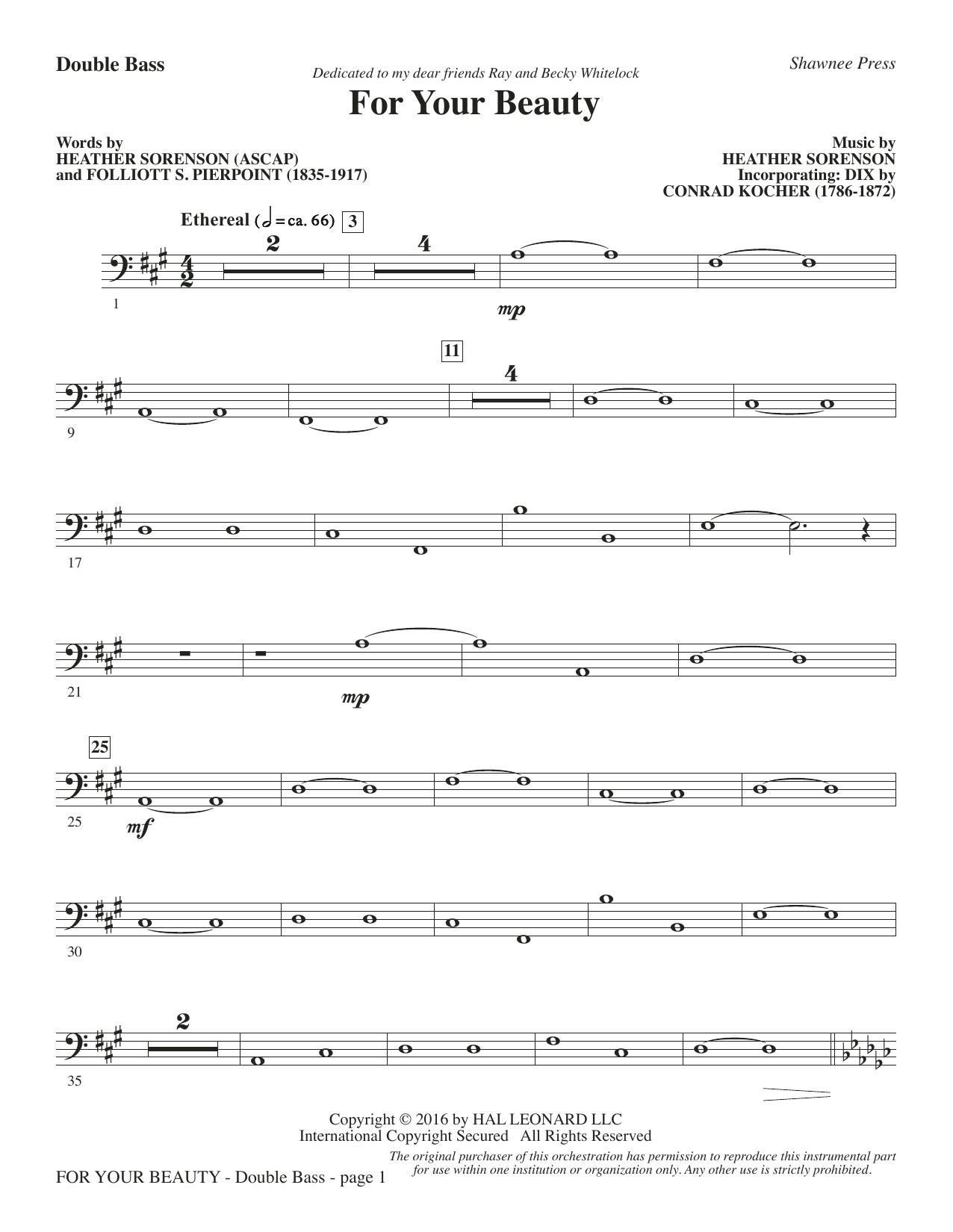 For Your Beauty - Double Bass (Choir Instrumental Pak)
