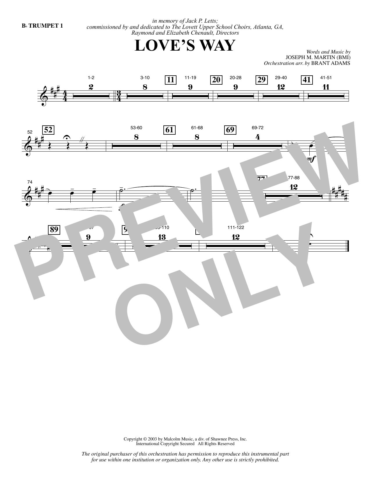 Love's Way - Bb Trumpet 1 Sheet Music