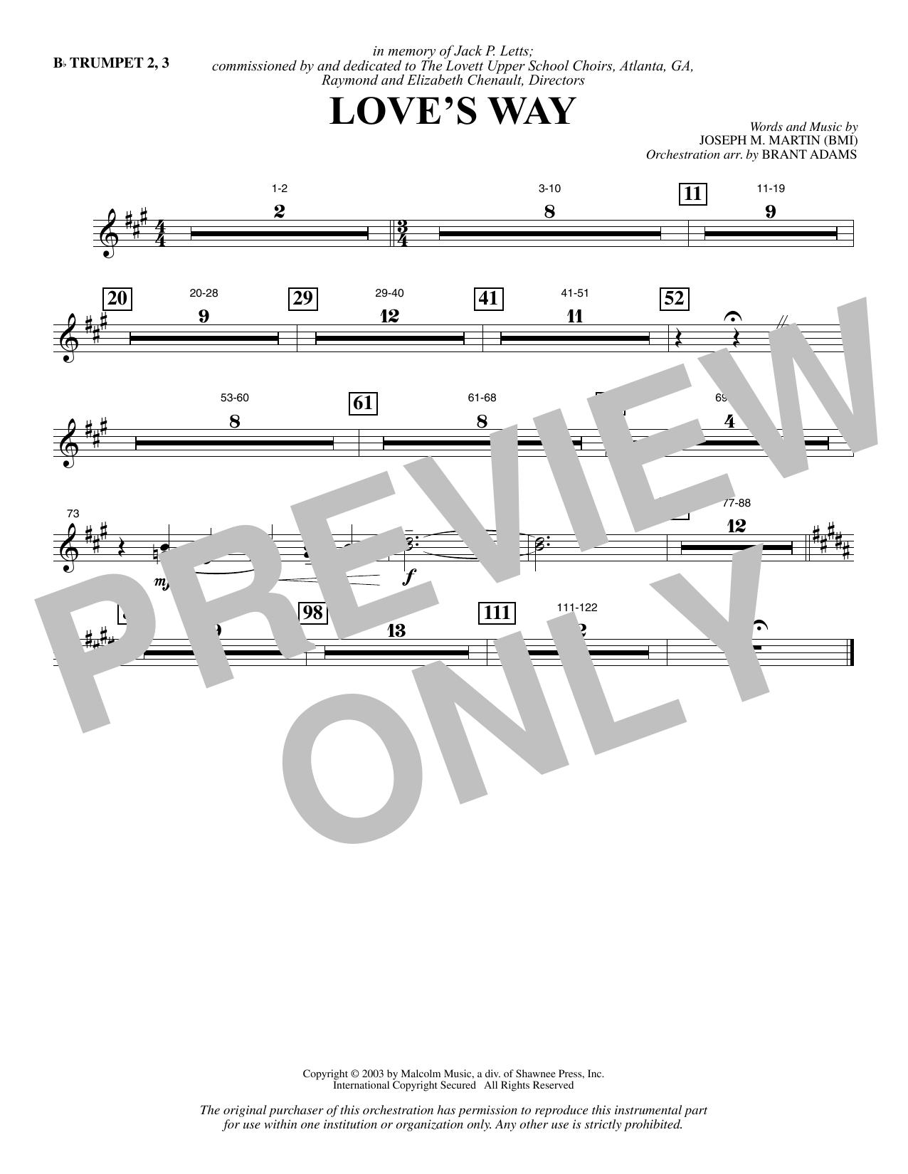 Love's Way - Bb Trumpet 2,3 (Choir Instrumental Pak)