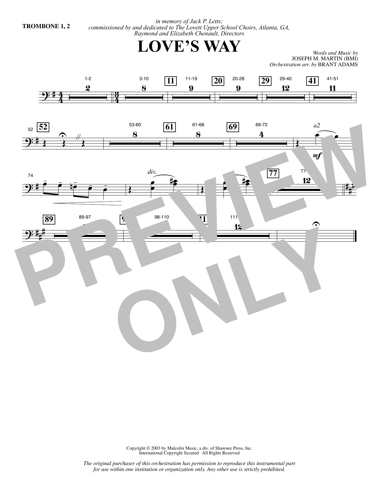 Love's Way - Trombone 1 & 2 Sheet Music