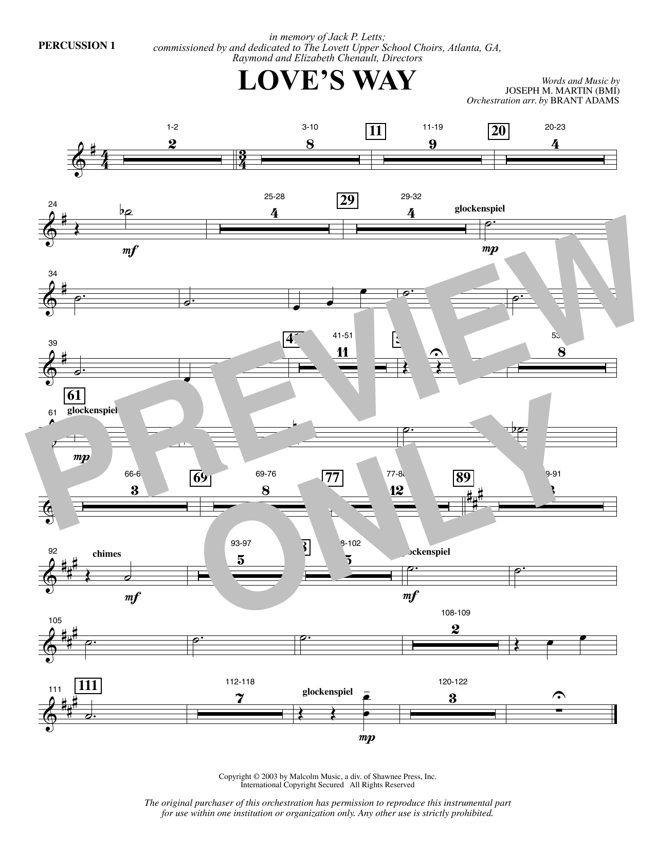 Love's Way - Percussion 1 Sheet Music