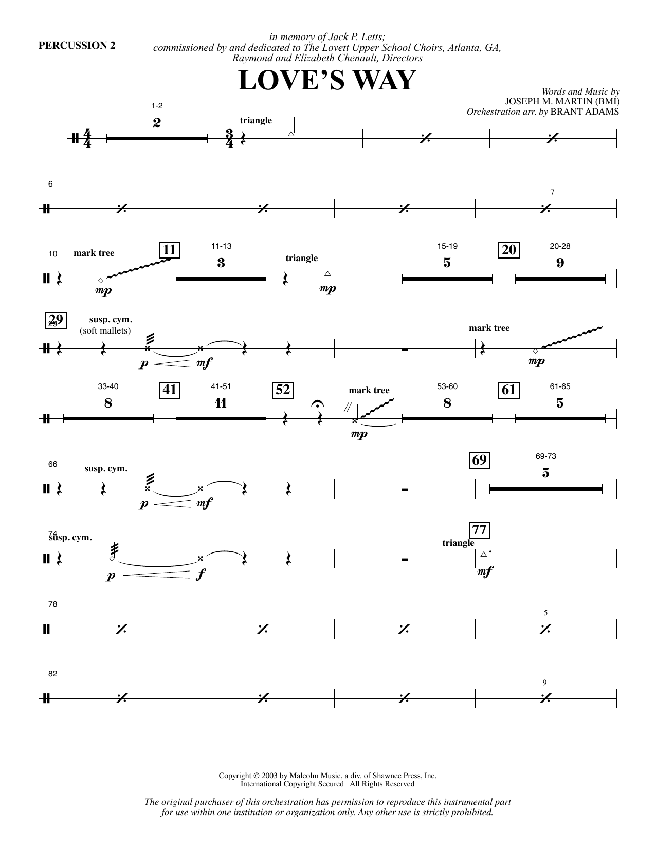 Love's Way - Percussion 2 Sheet Music