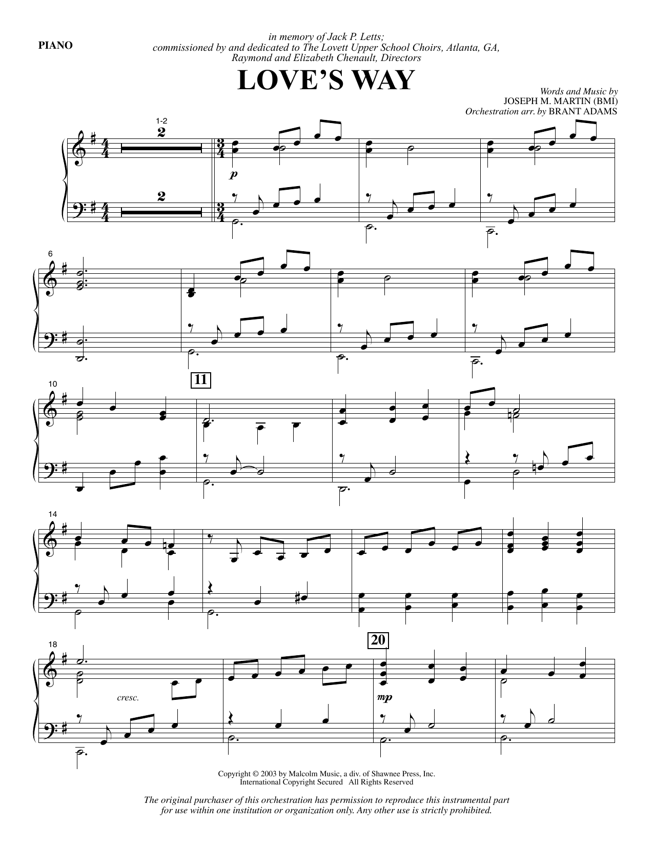 Love's Way - Piano Sheet Music