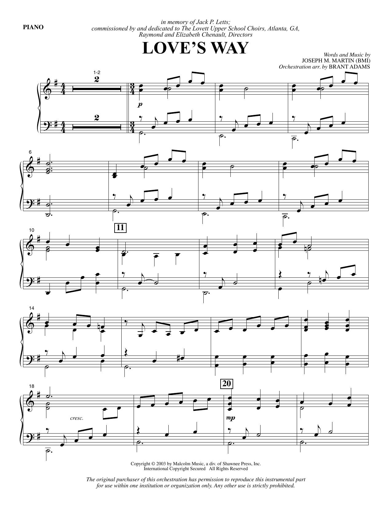 Love's Way - Piano (Choir Instrumental Pak)
