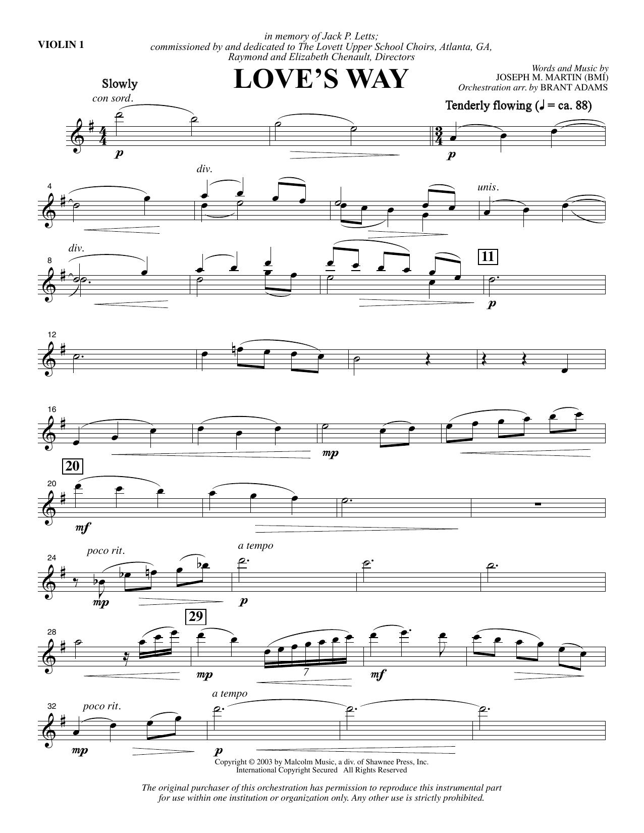 Love's Way - Violin 1 Sheet Music