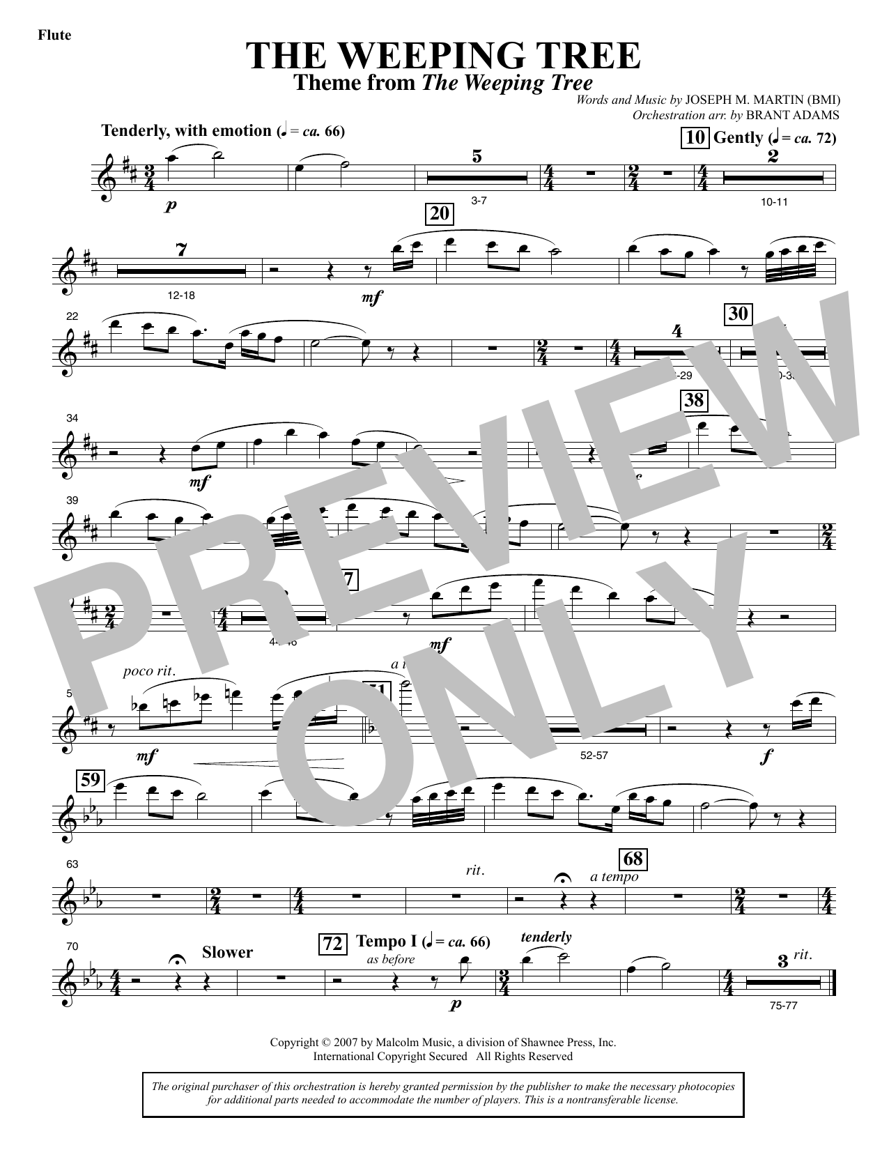 The Weeping Tree - Flute Sheet Music