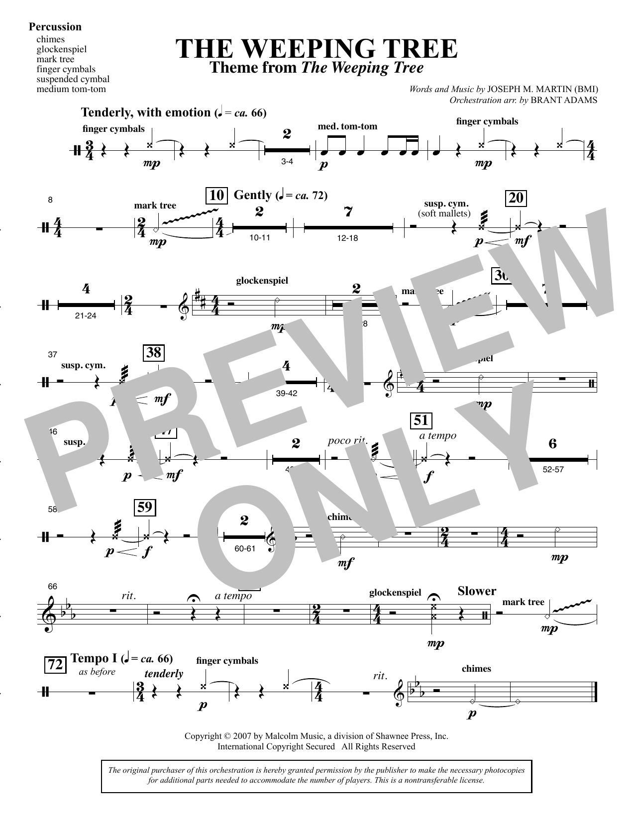 The Weeping Tree - Percussion Sheet Music