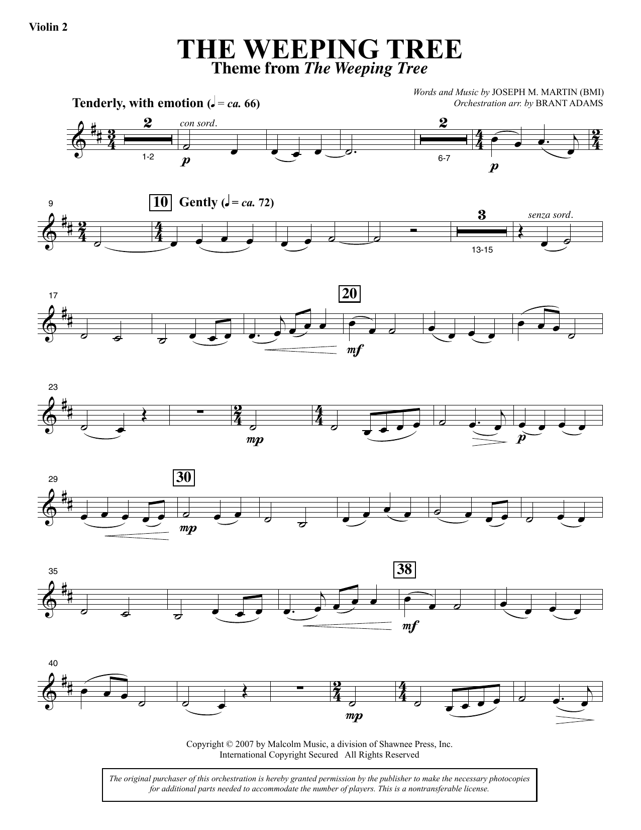 The Weeping Tree - Violin 2 Sheet Music
