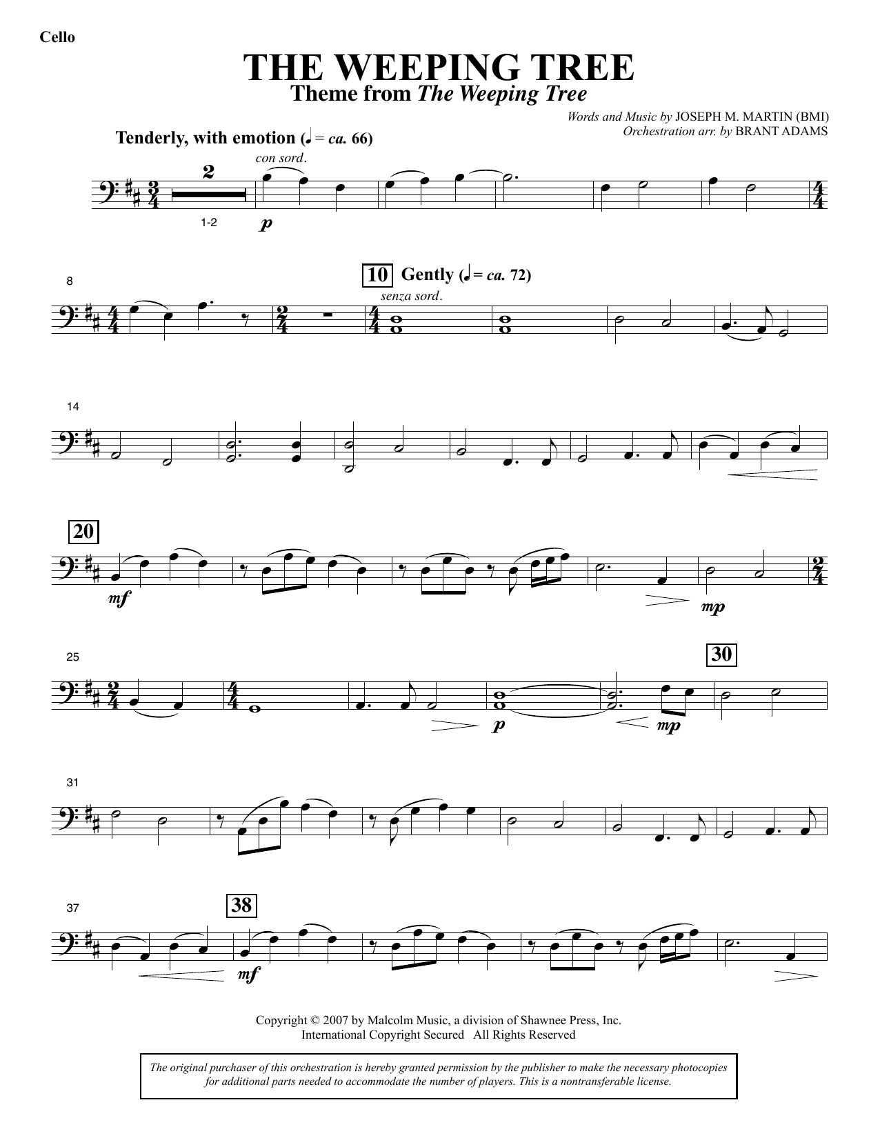 The Weeping Tree - Cello Sheet Music