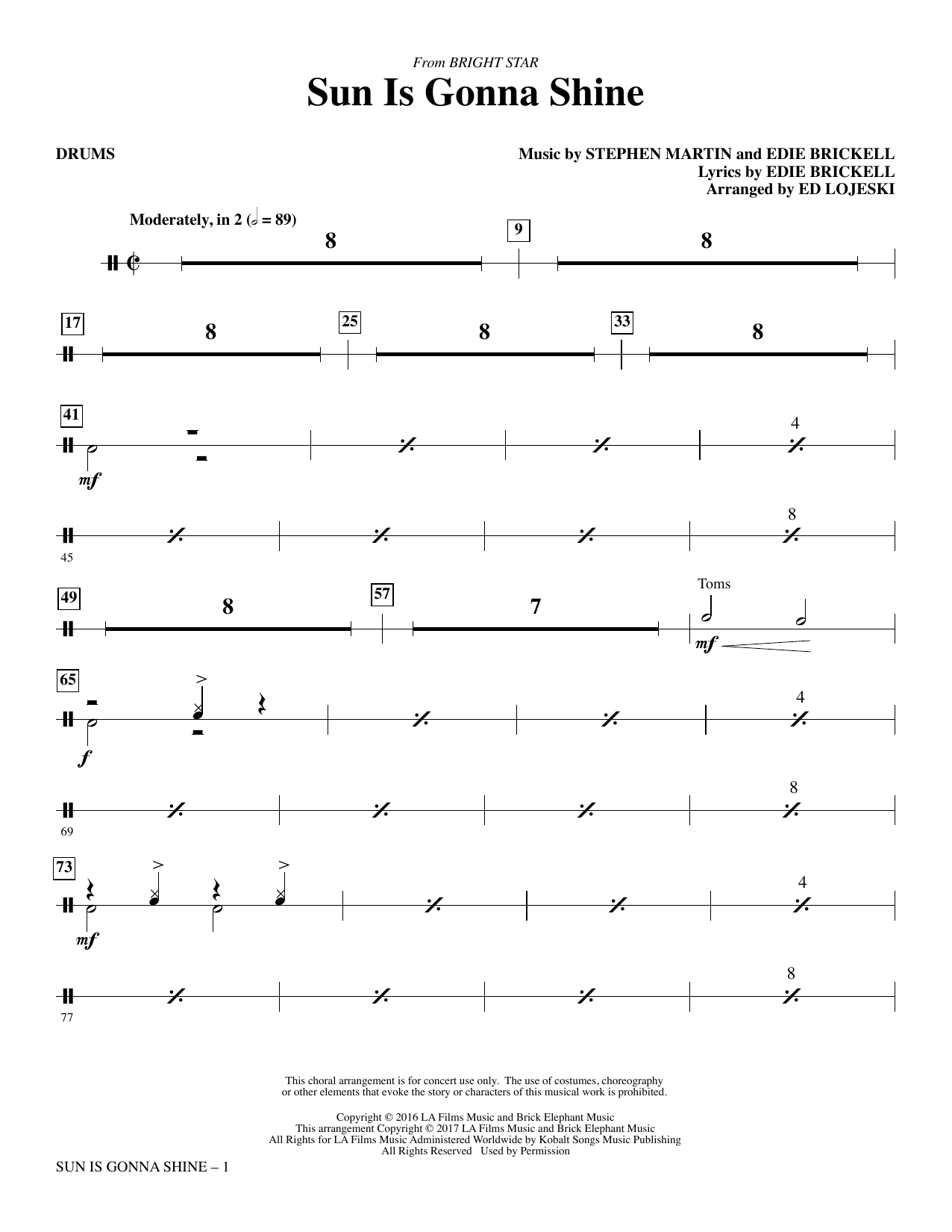 Sun Is Gonna Shine (from Bright Star) - Drums Sheet Music