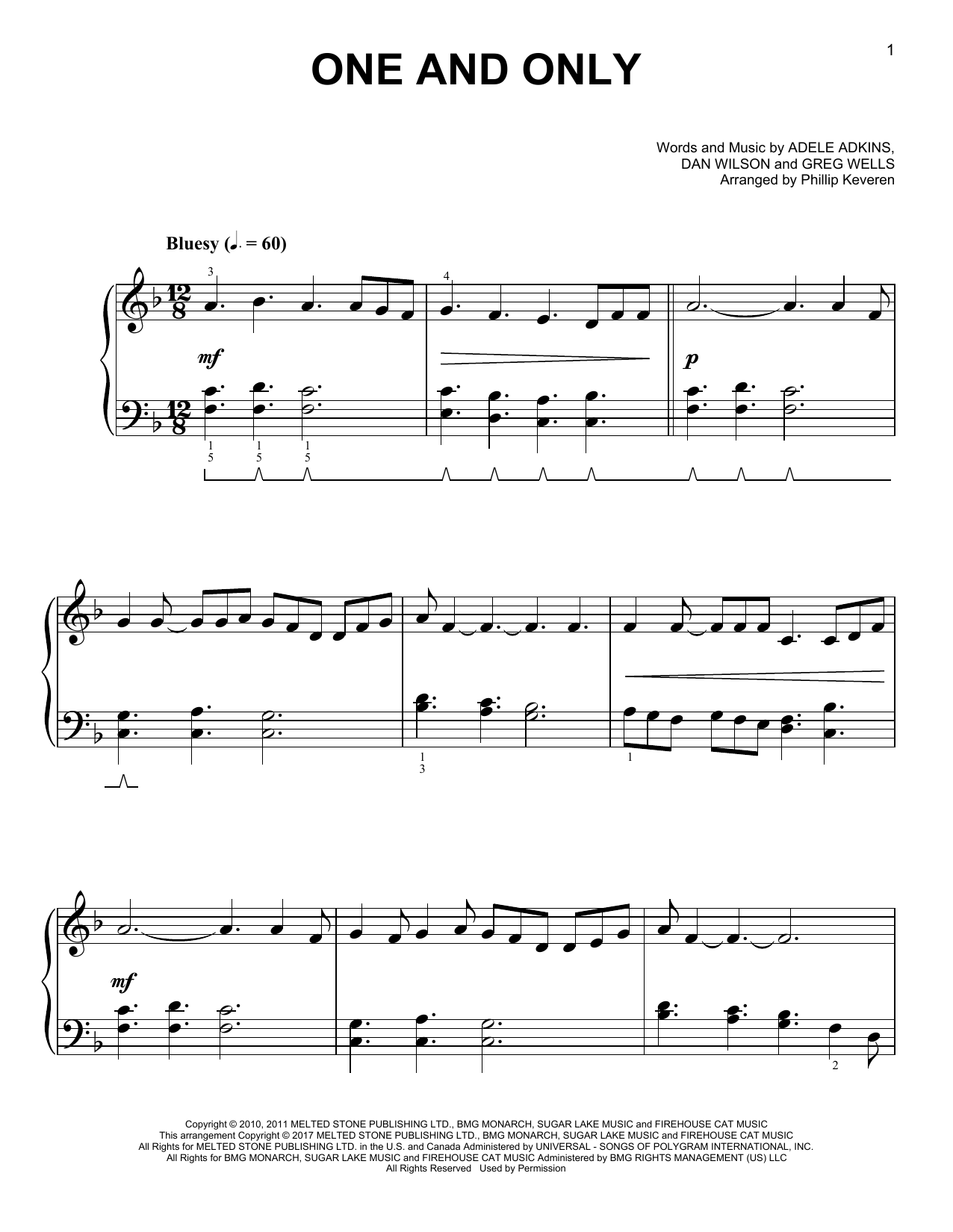 One And Only [Classical version] (arr. Phillip Keveren) (Easy Piano)