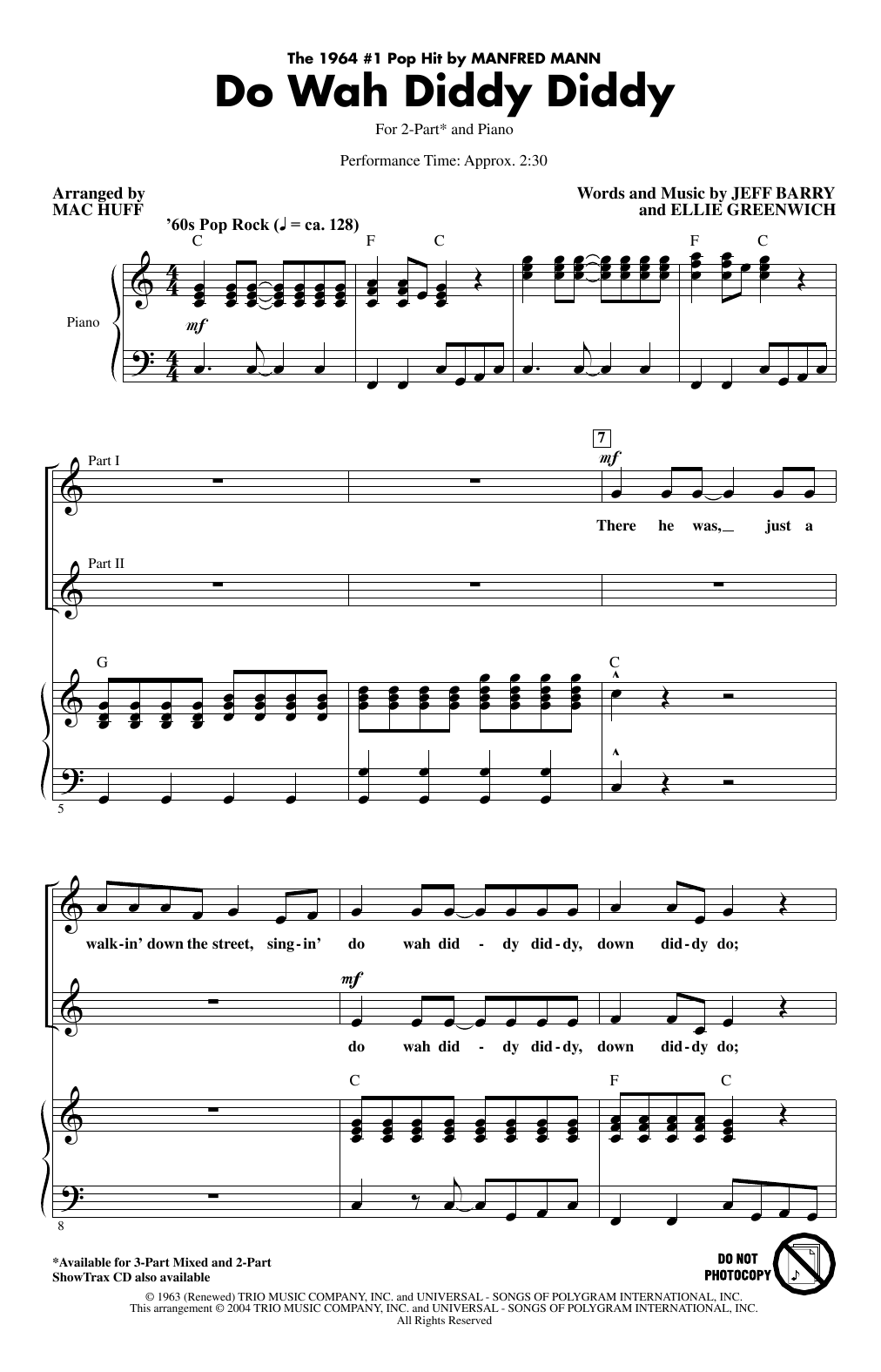 Do Wah Diddy Diddy (arr. Mac Huff) (2-Part Choir)