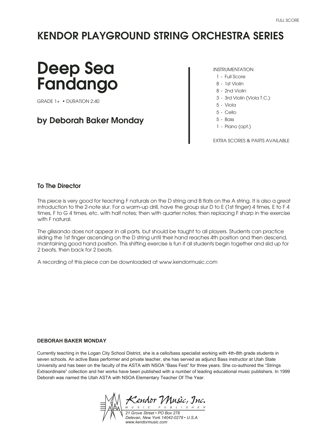 Deep Sea Fandango (COMPLETE) sheet music for orchestra by Deborah Baker Monday. Score Image Preview.