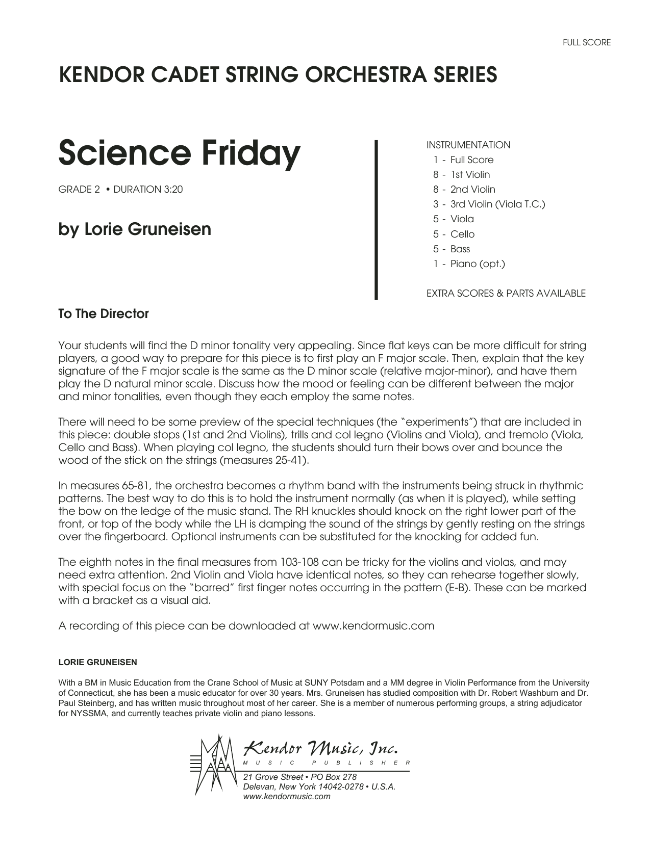 Science Friday (COMPLETE) sheet music for orchestra by Lorie Gruneisen. Score Image Preview.