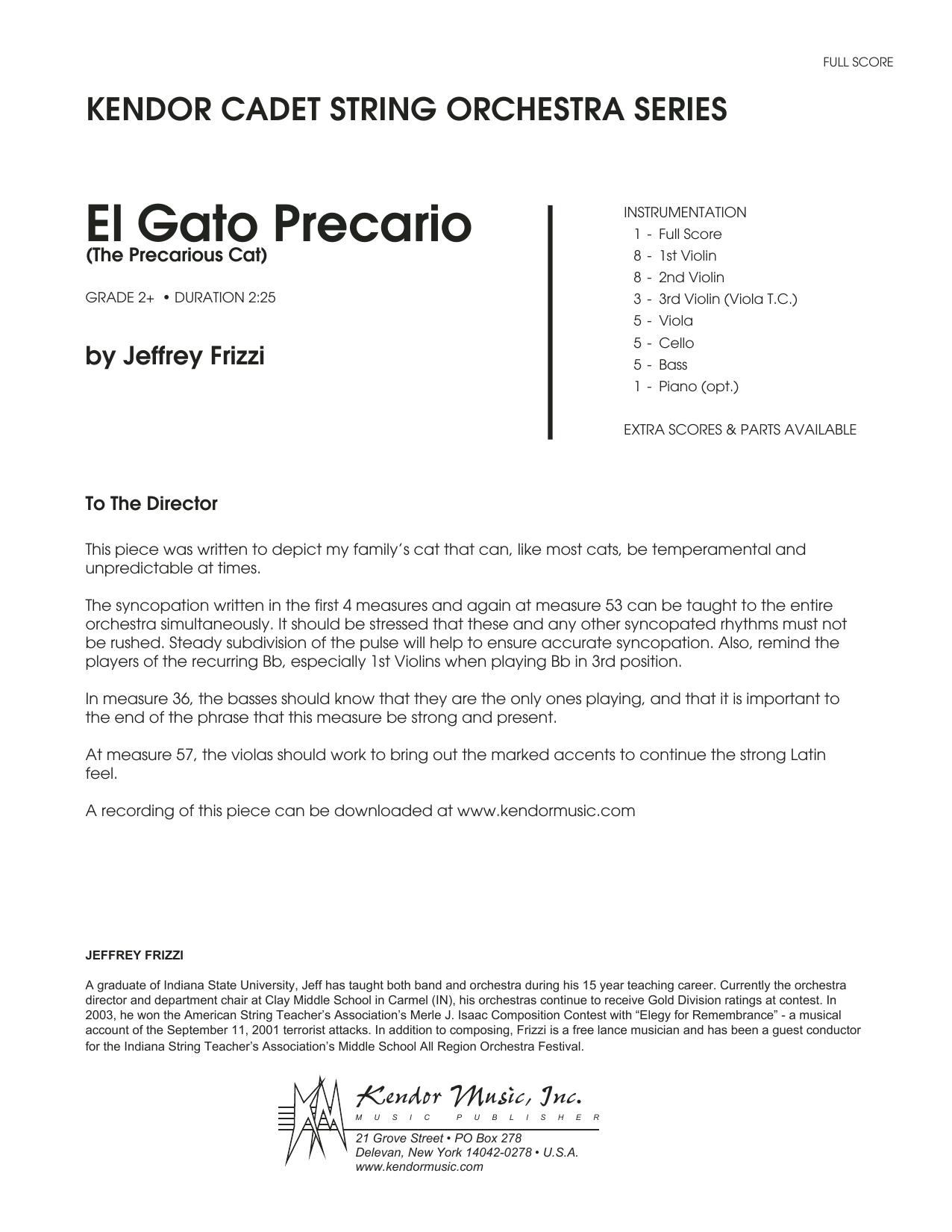 El Gato Precario (The Precarious Cat) (COMPLETE) sheet music for orchestra by Jeffrey Frizzi. Score Image Preview.