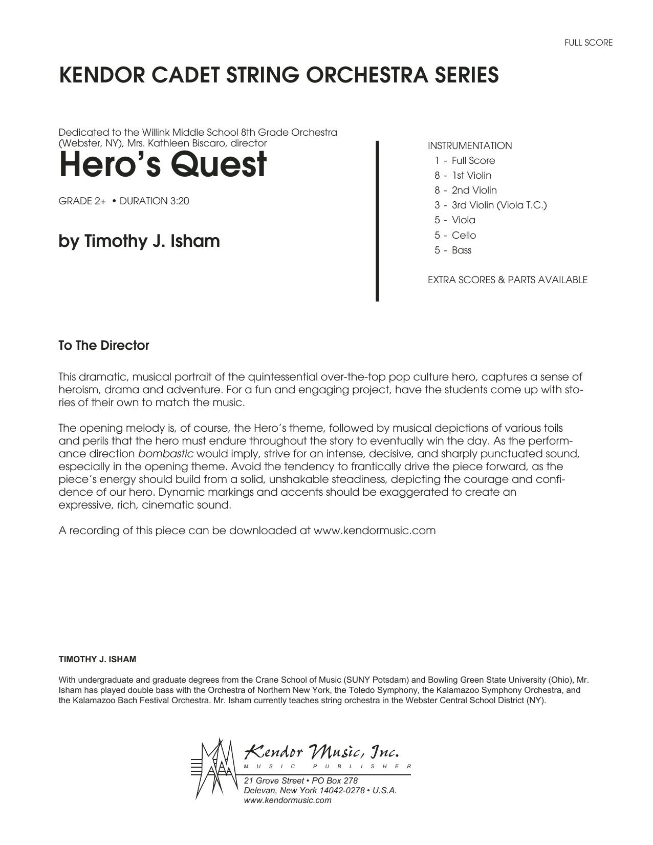 Hero's Quest - Full Score Sheet Music