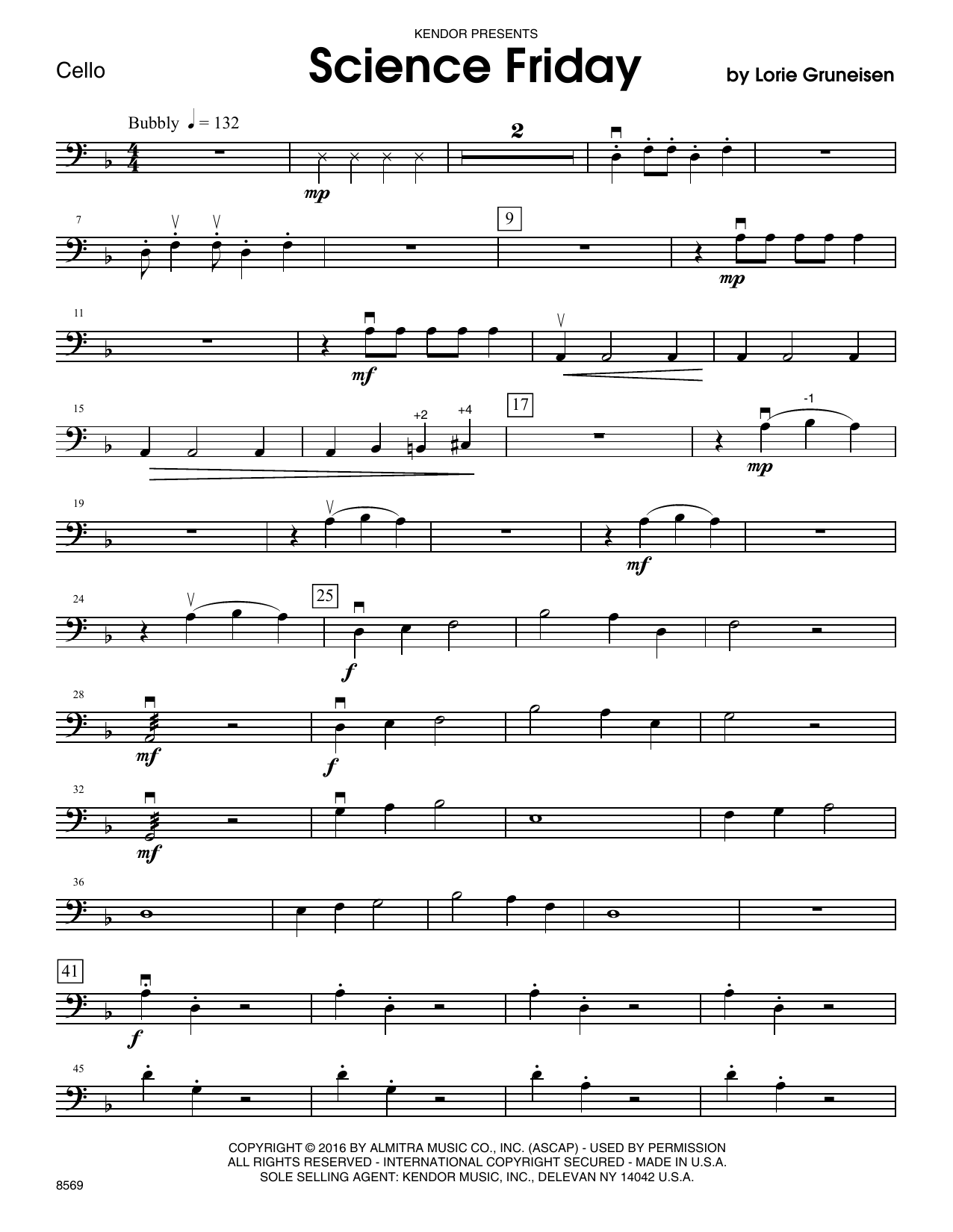 Science Friday - Cello Sheet Music