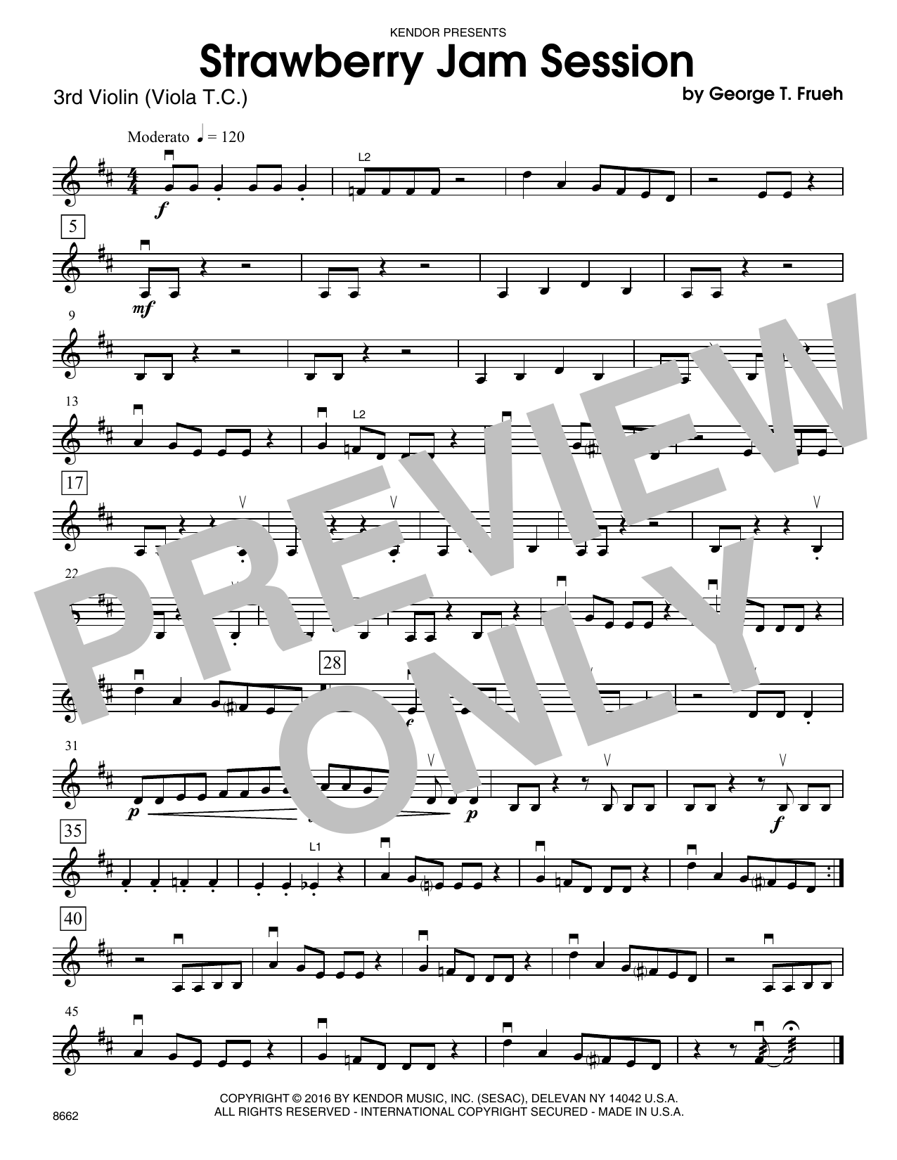 Strawberry Jam Session - Violin 3 (Viola T.C.) Sheet Music