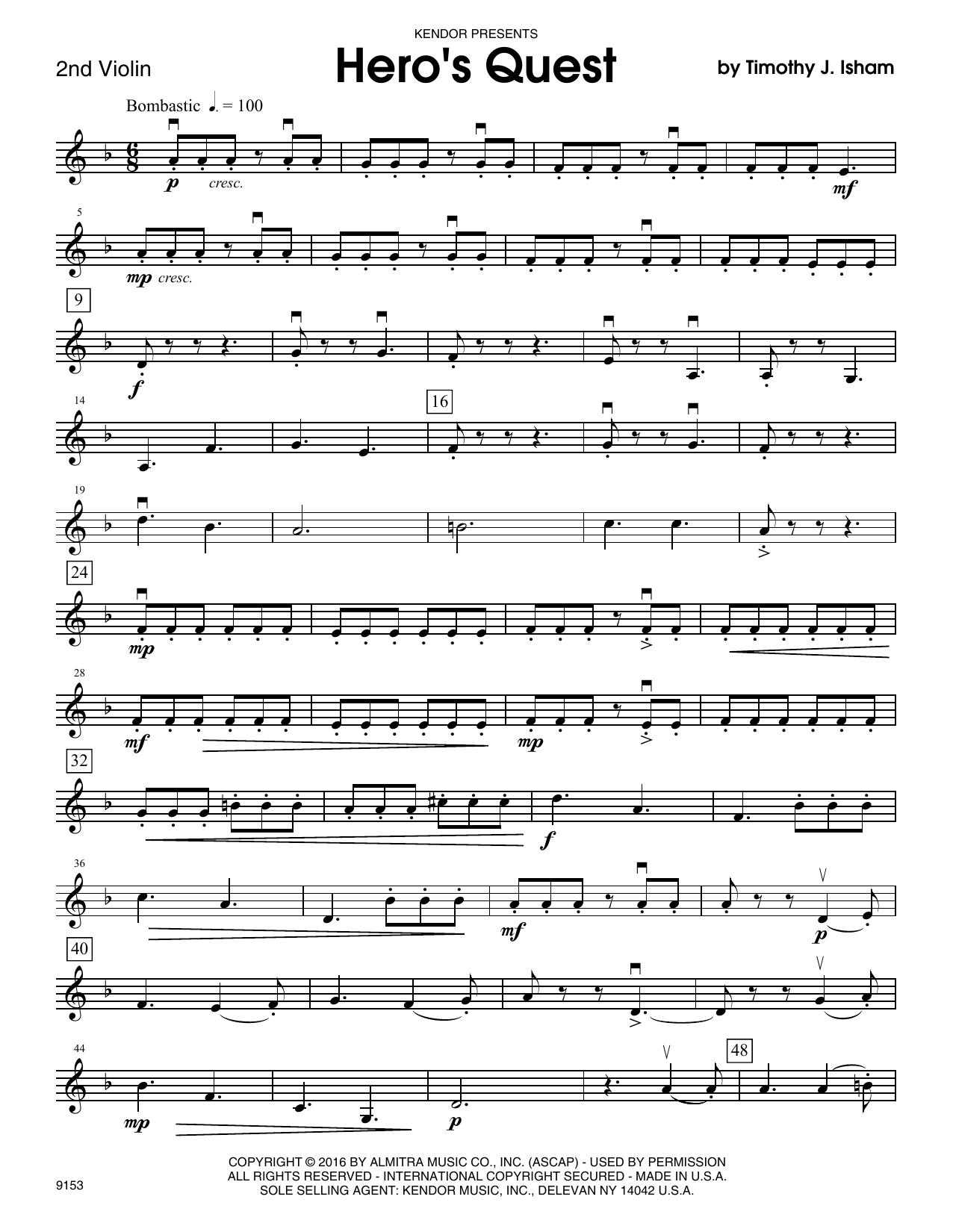Hero's Quest - 2nd Violin Sheet Music