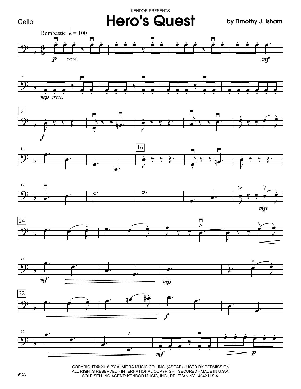Hero's Quest - Cello Sheet Music