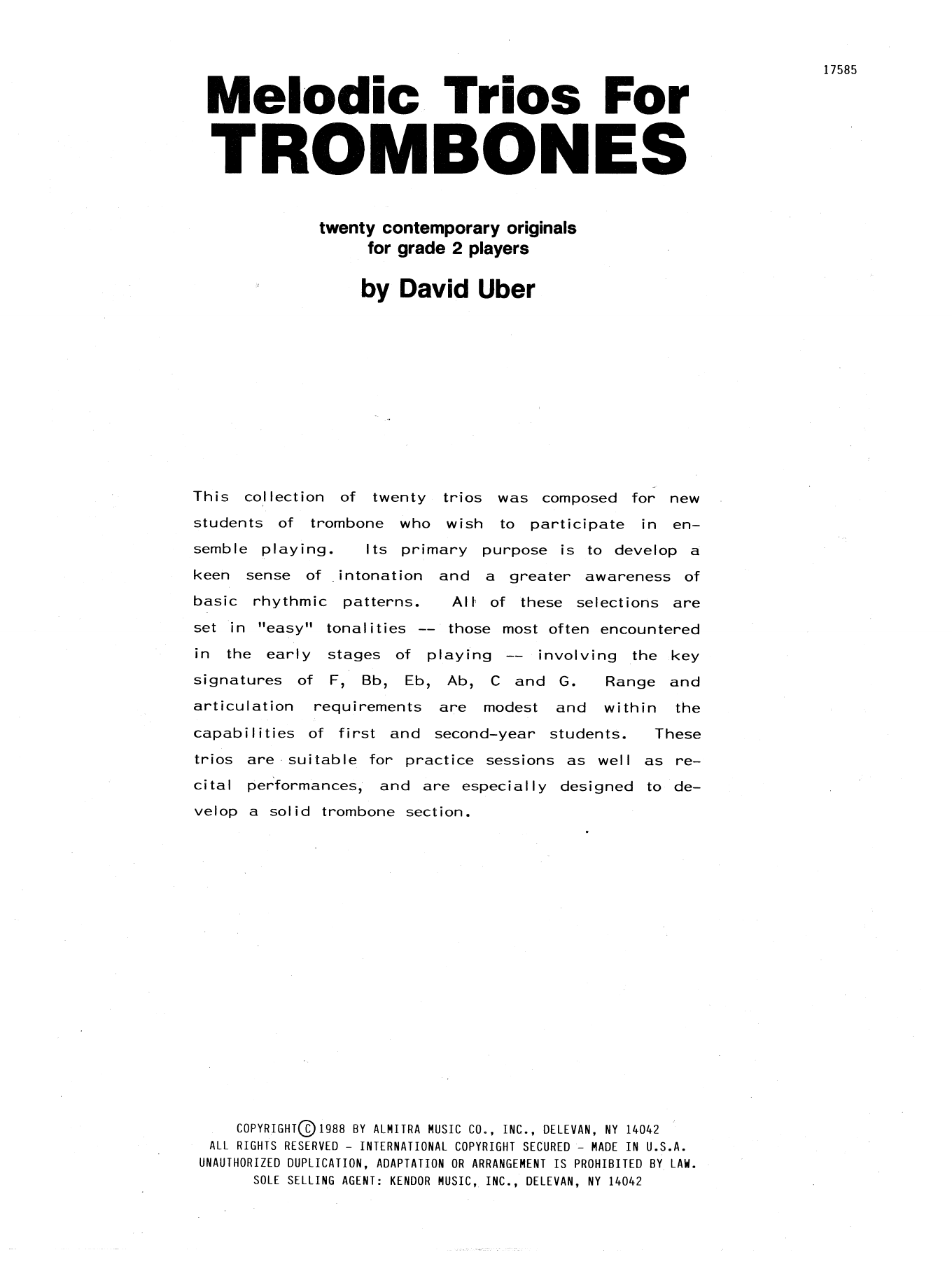 Melodic Trios For Trombones Sheet Music