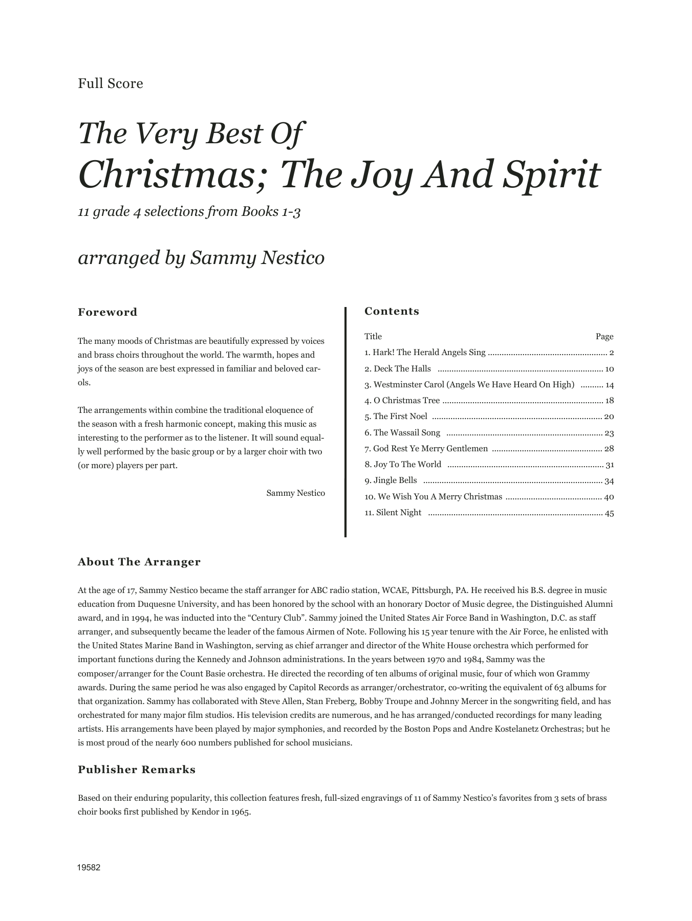 Very Best Of Christmas; The Joy And Spirit (Books 1-3) (COMPLETE) sheet music for brass ensemble by Sammy Nestico. Score Image Preview.