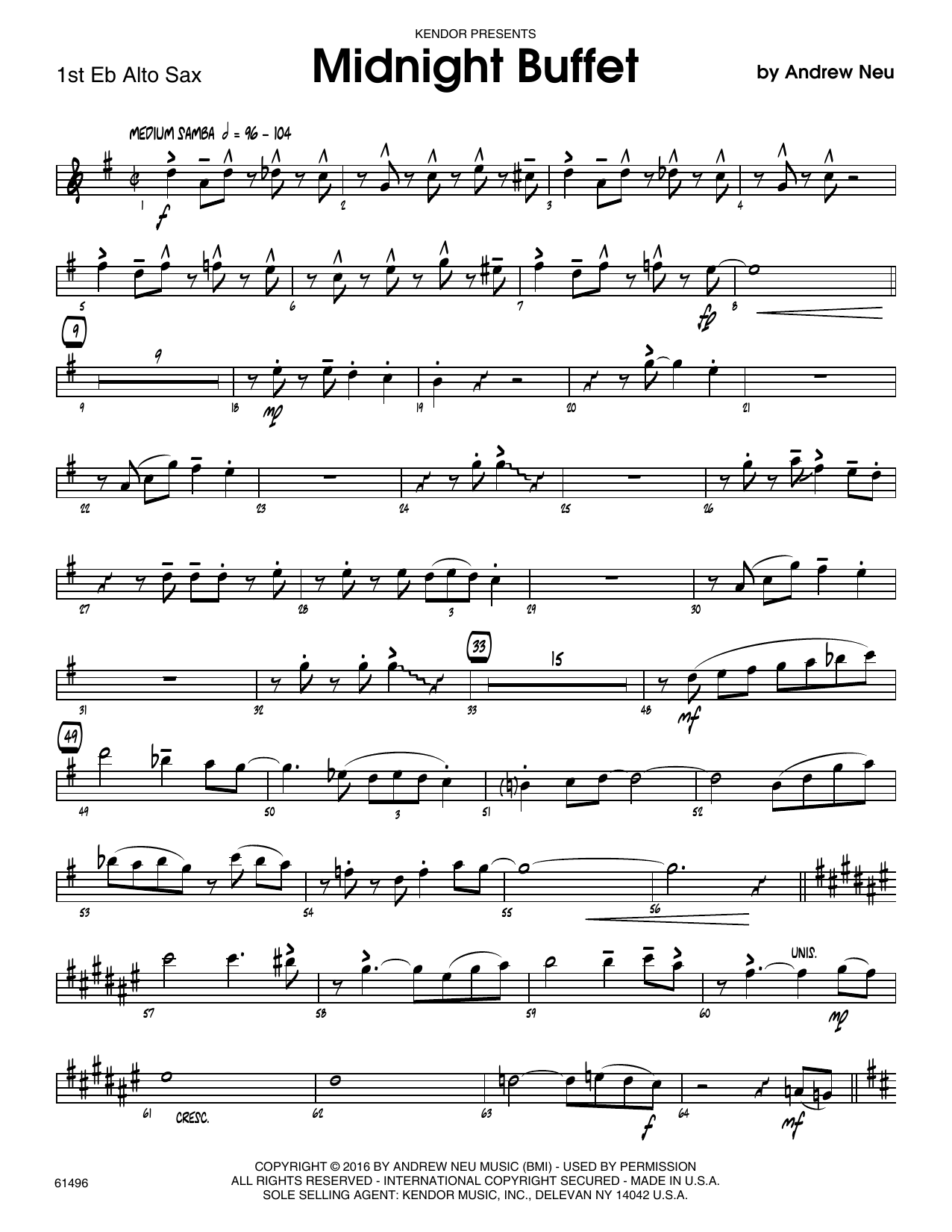 Midnight Buffet - 1st Eb Alto Saxophone Sheet Music