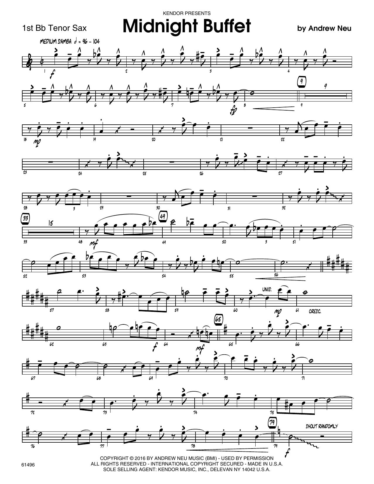 Midnight Buffet - 1st Tenor Saxophone Sheet Music
