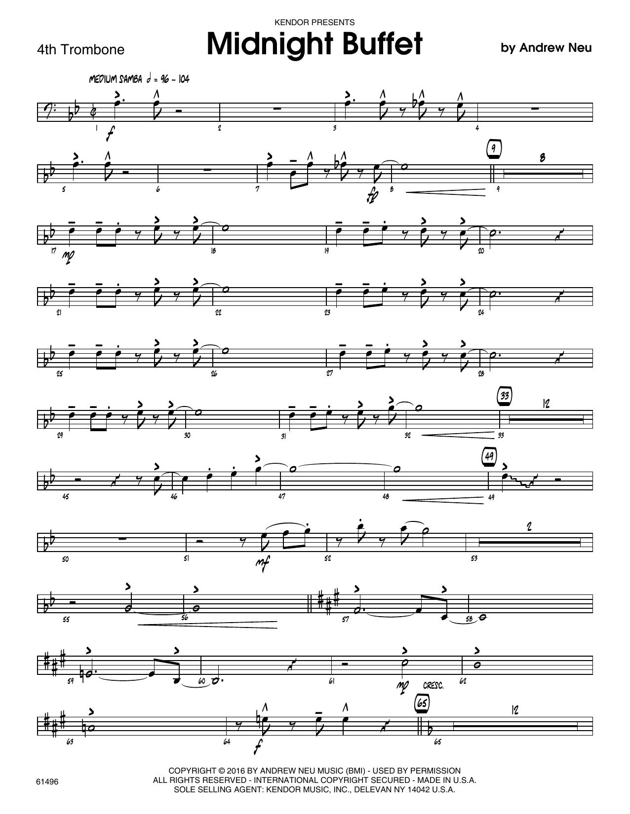 Midnight Buffet - 4th Trombone Sheet Music