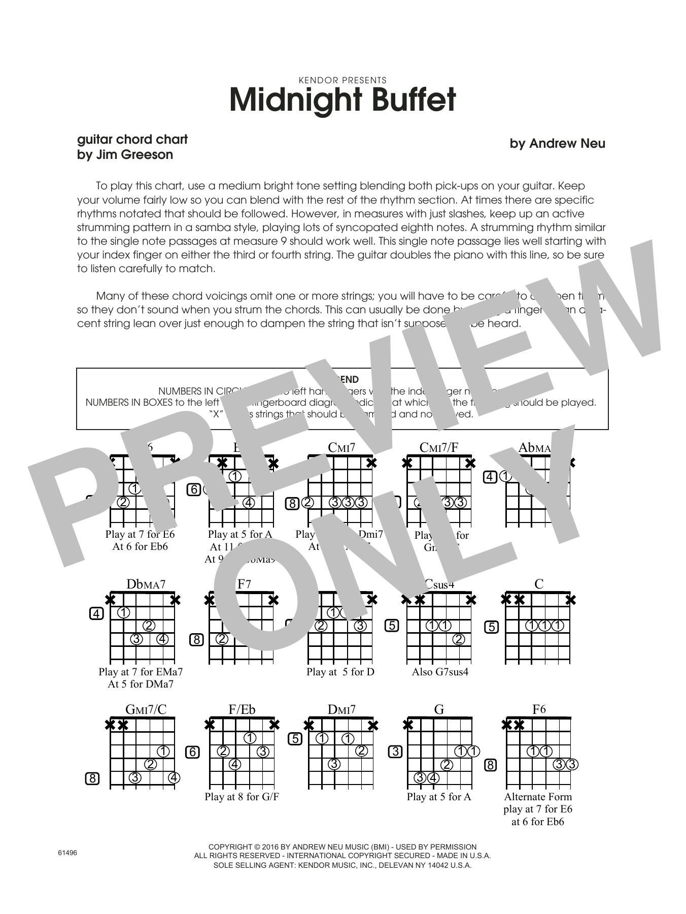Midnight Buffet - Guitar Chord Chart Sheet Music