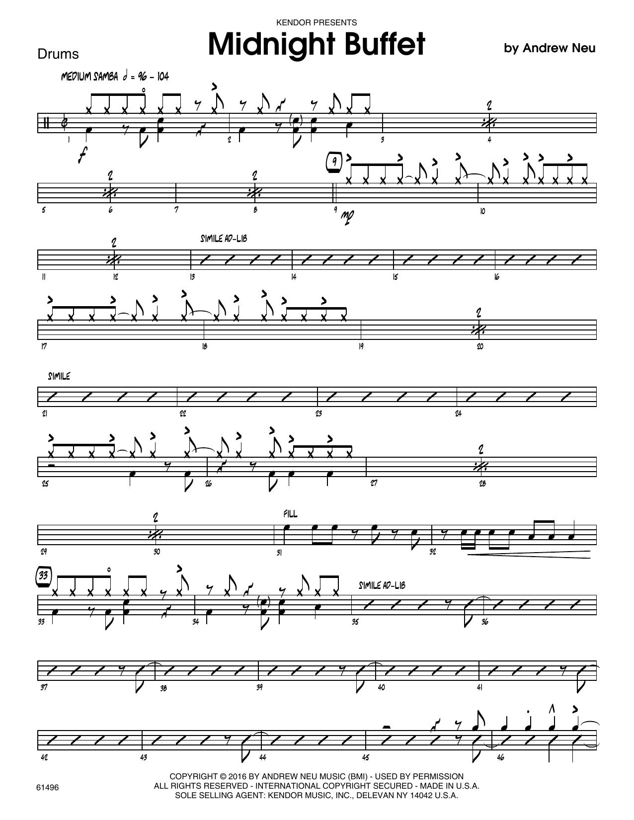 Midnight Buffet - Drum Set Sheet Music