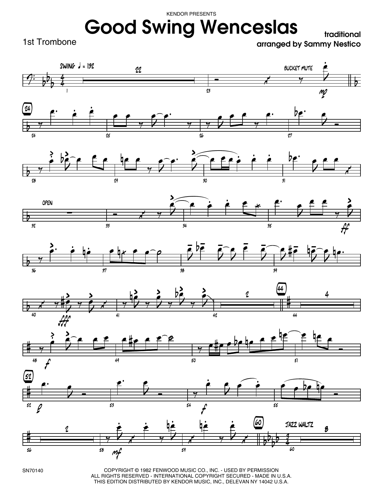Good Swing Wenceslas - 1st Trombone Sheet Music