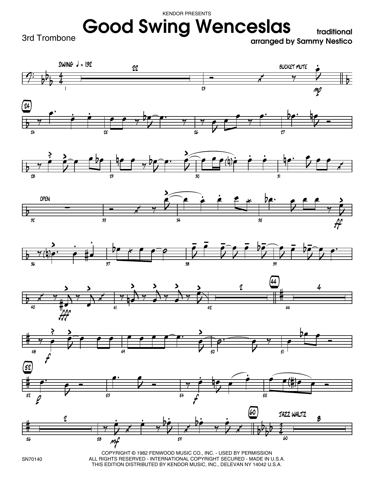 Good Swing Wenceslas - 3rd Trombone Sheet Music