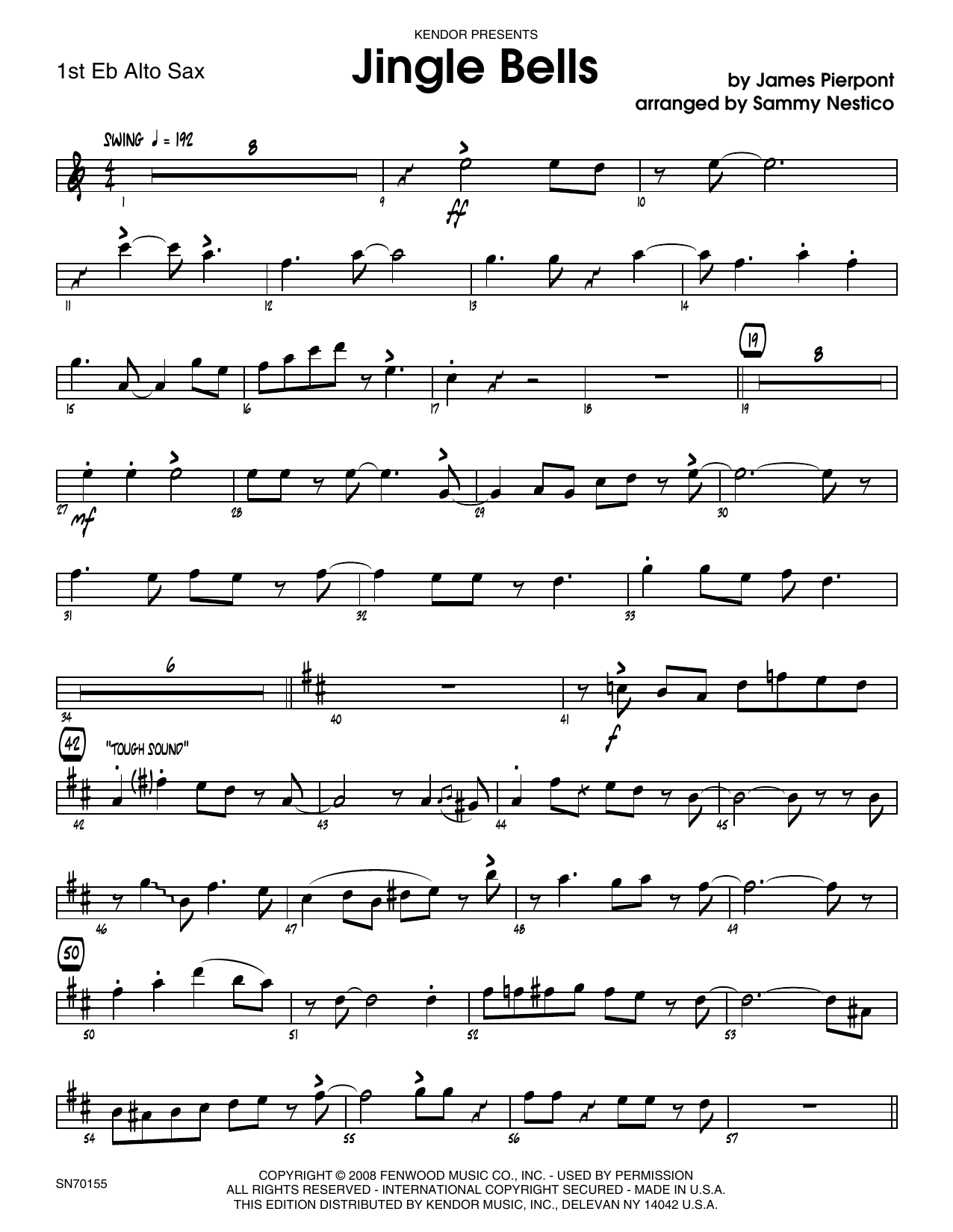 Jingle Bells - 1st Eb Alto Saxophone Sheet Music