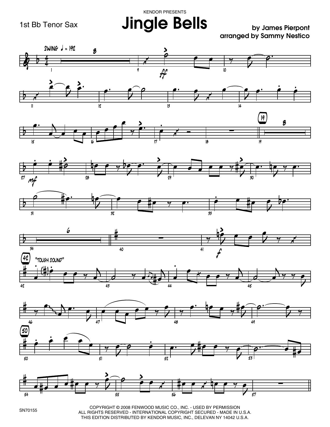 Jingle Bells - 1st Tenor Saxophone Sheet Music