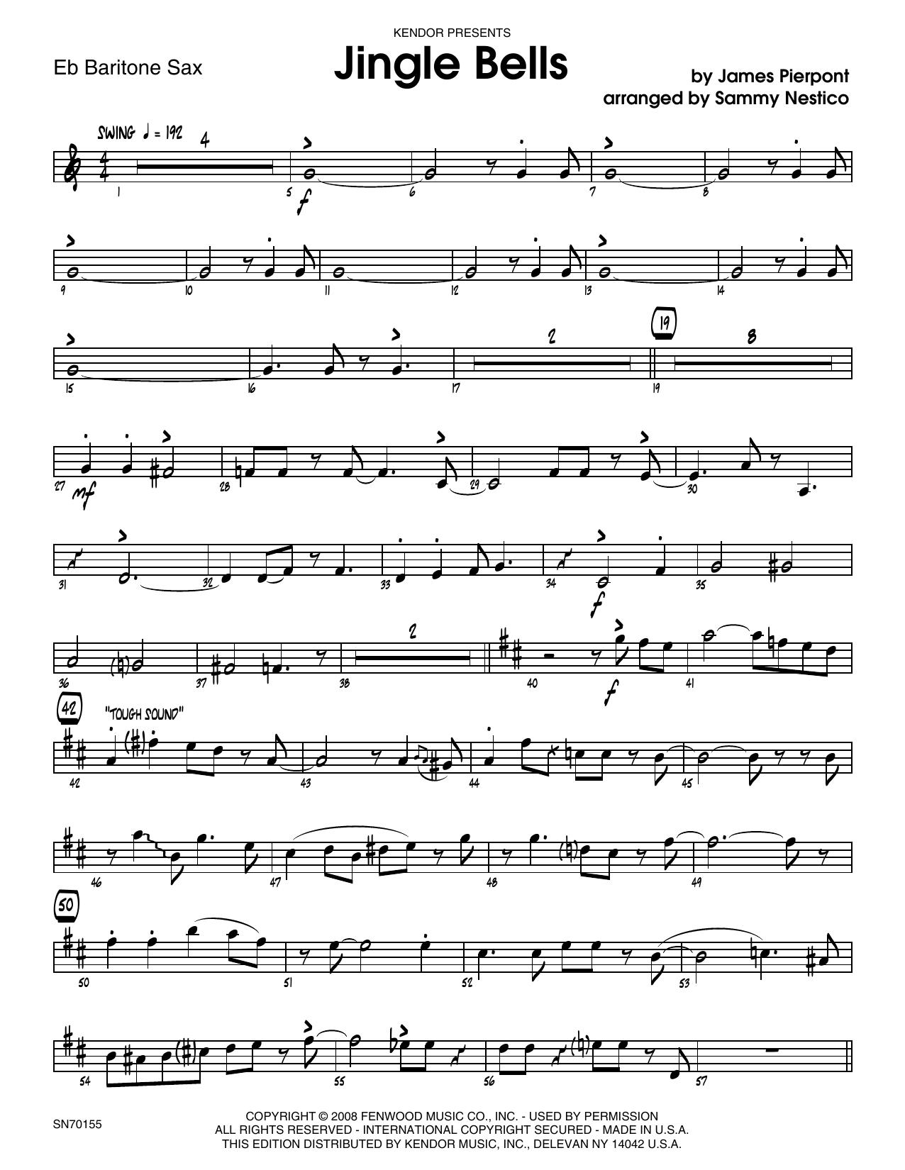 Jingle Bells - Eb Baritone Saxophone Sheet Music