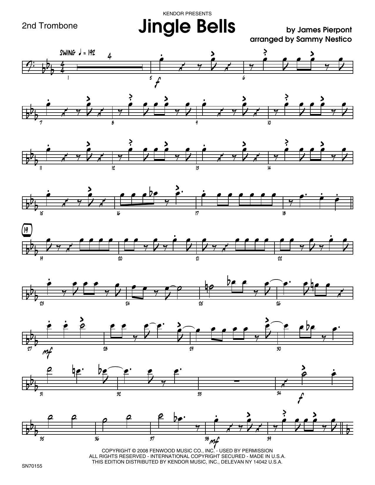 Jingle Bells - 2nd Trombone Sheet Music