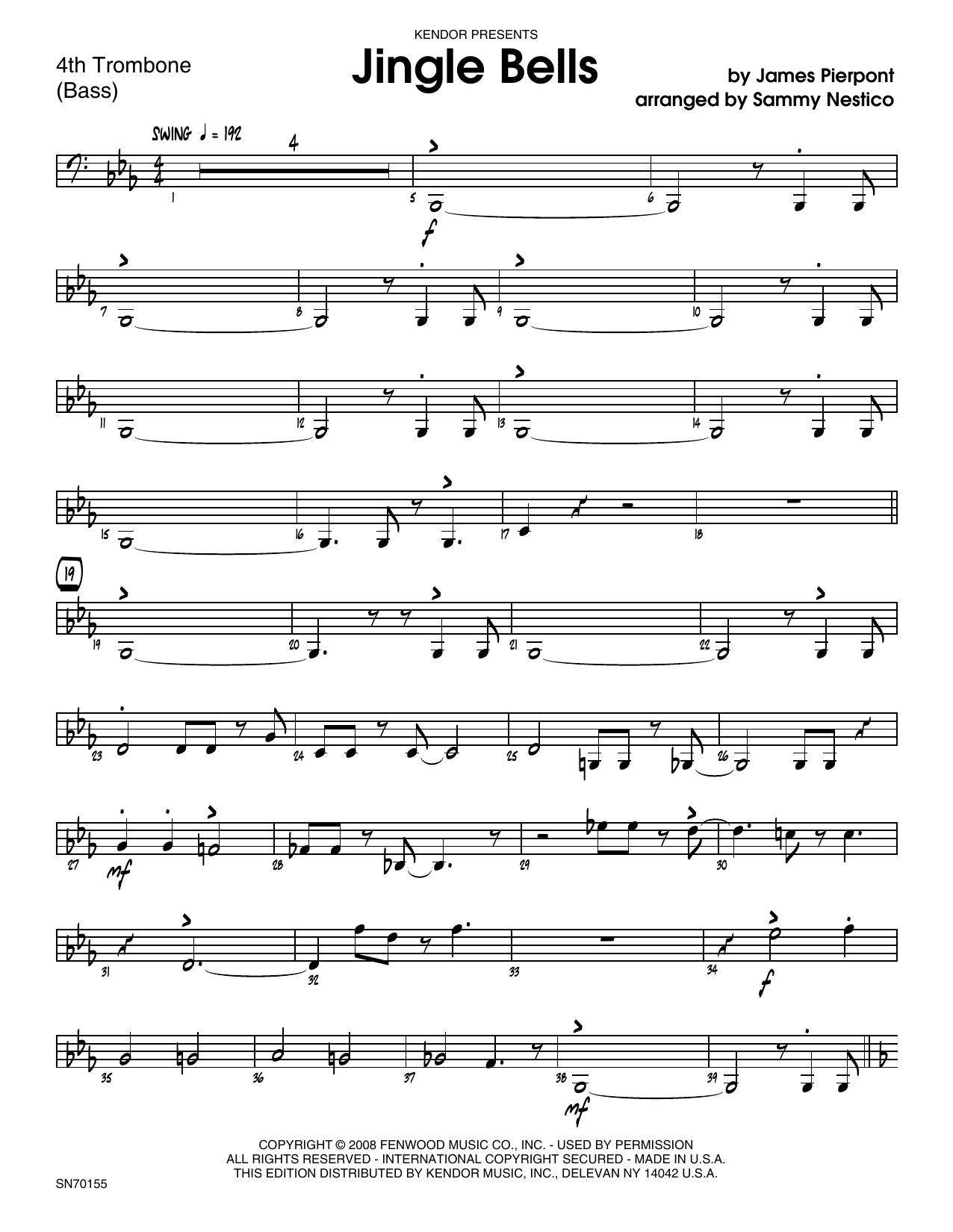 Jingle Bells - 4th Trombone Sheet Music