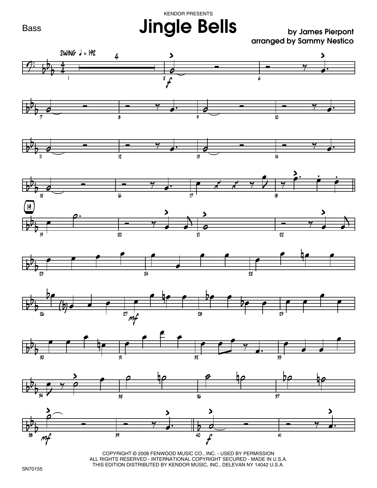 Jingle Bells - Bass Sheet Music