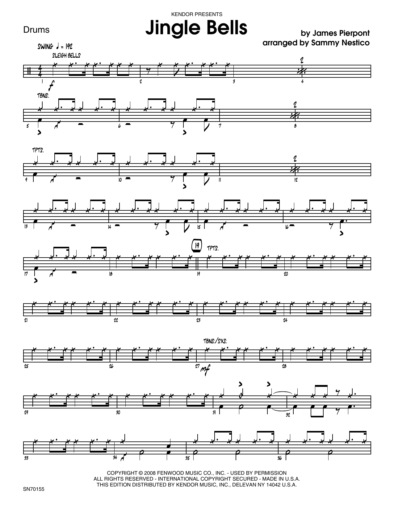 Jingle Bells - Drum Set Sheet Music