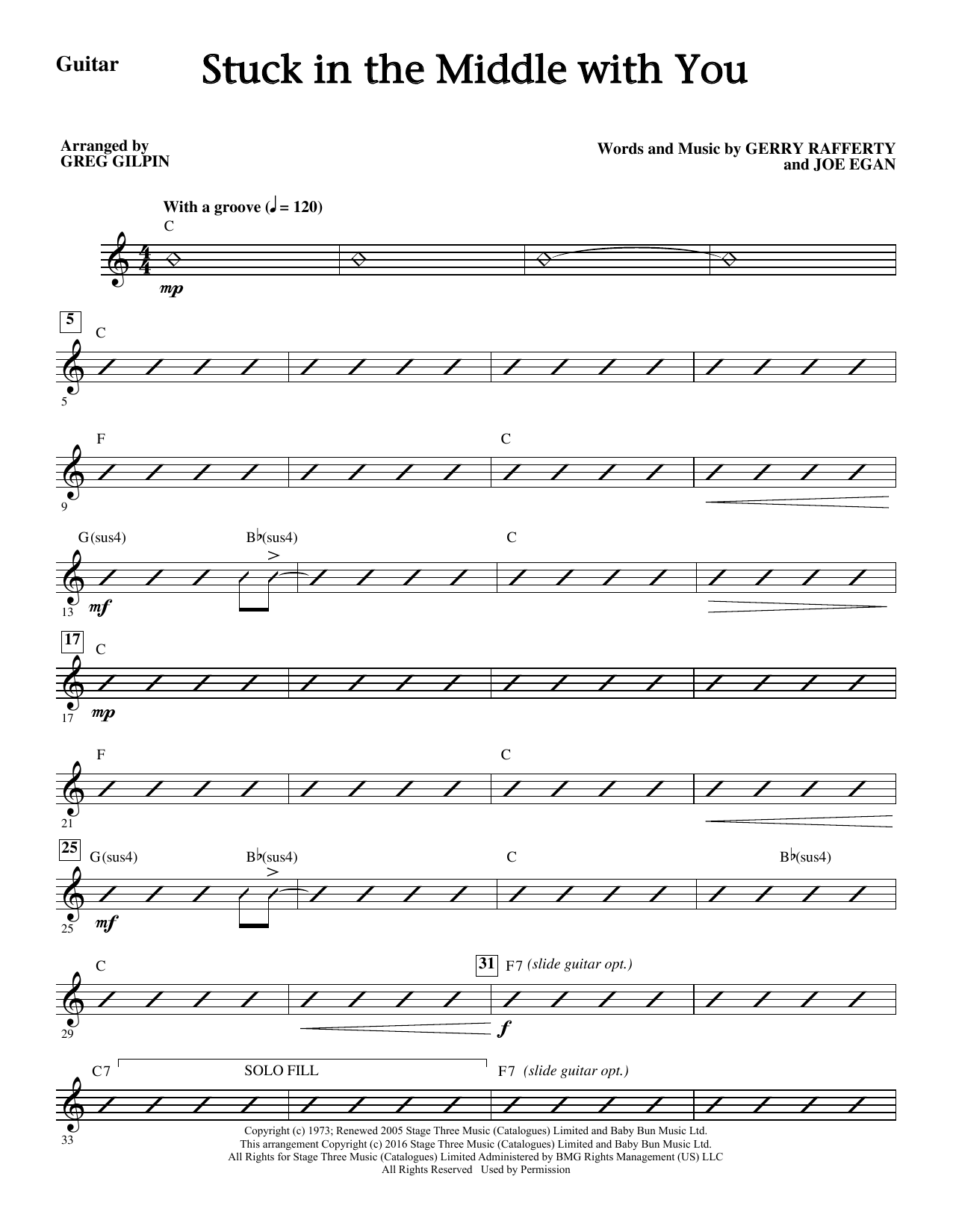 Stuck In The Middle With You (complete set of parts) sheet music for orchestra/band by Greg Gilpin, Gerry Rafferty, Joe Egan and Stealers Wheel. Score Image Preview.