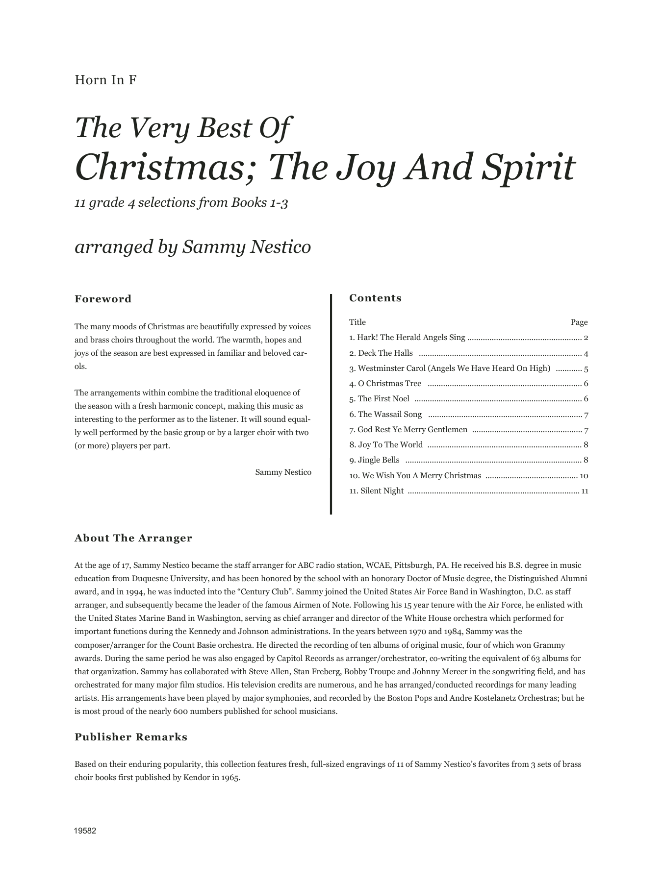 Very Best Of Christmas; The Joy And Spirit (Books 1-3) - Horn in F Sheet Music