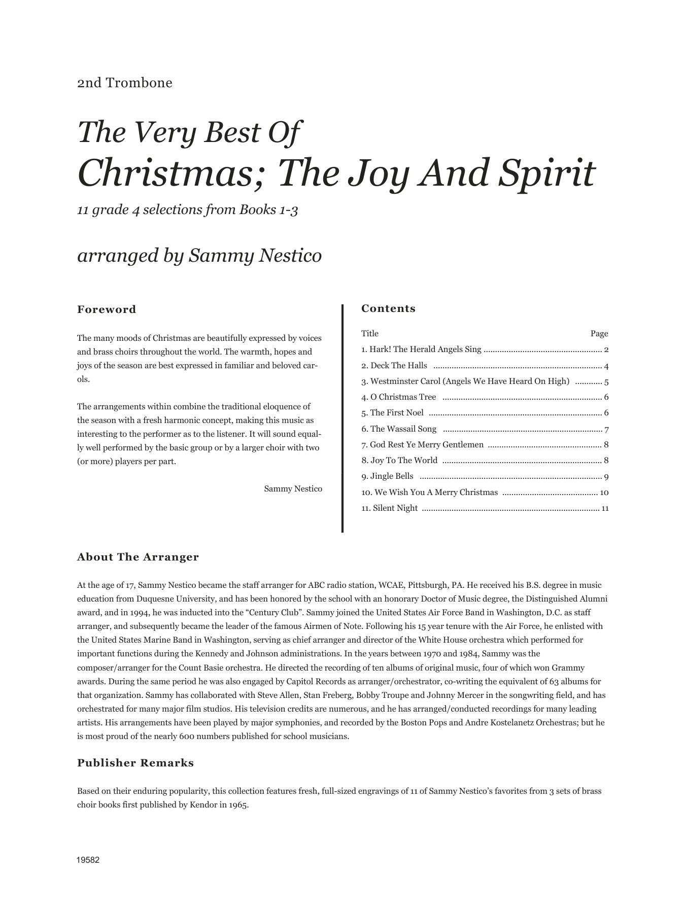 Very Best Of Christmas; The Joy And Spirit (Books 1-3) - 2nd Trombone Sheet Music
